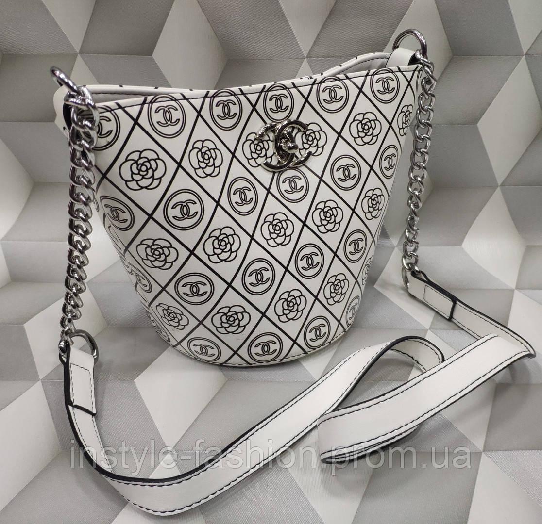 01df12743dcb Женская модная сумка-клатч копия Шанель Chanel качественная эко-кожа цвет  белый