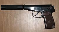 """Пистолет Макарова под патрон флобера """"ПМФ1"""" с глушителем, с коричневой рукоятью"""