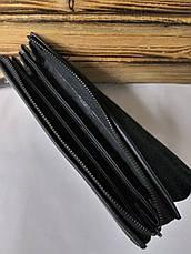 Мужской клатч черного цвета с клапаном, на три отдела с кожаным клапаном, фото 3