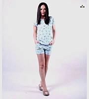 Летняя женская пижама футболка с шортами хлопковая