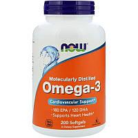 """Рыбий жир NOW Foods """"Omega-3"""" поддержка сердечно-сосудистой системы (200 капсул)"""