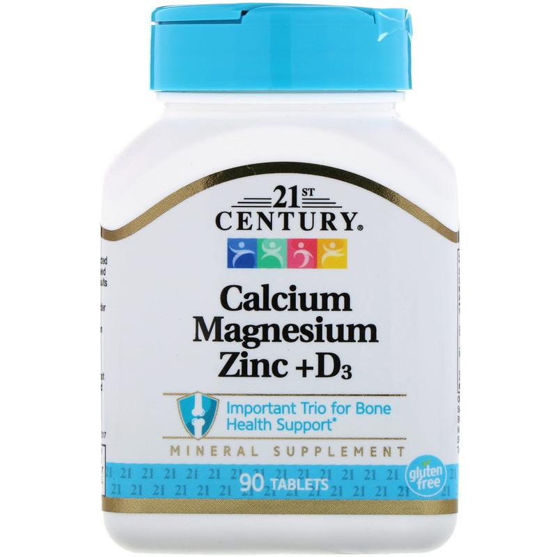 """Кальций, магний, цинк 21st Century """"Calcium, Magnesium, Zinc + D3"""" с витамином D3 (90 таблеток)"""