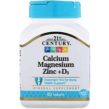 """Комплекс микроэлементов 21st Century """"Calcium, Magnesium, Zinc + D3"""" для здоровья костей (90 таблеток)"""
