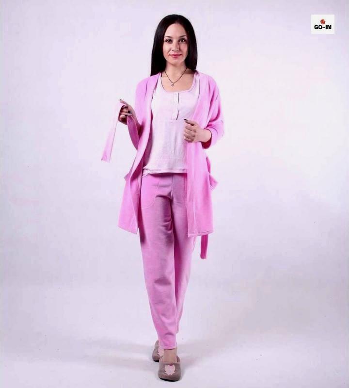 """Пижама женская велюровая с халатом и брюками 42-52р. """" Фуксия """""""