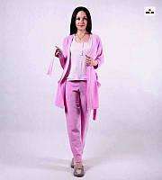 """Пижама женская велюровая с халатом и брюками 42-52р. """" Фуксия """", фото 1"""