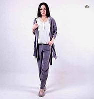"""Пижама женская велюровая с халатом и брюками 42-52р. """" Муссон """""""