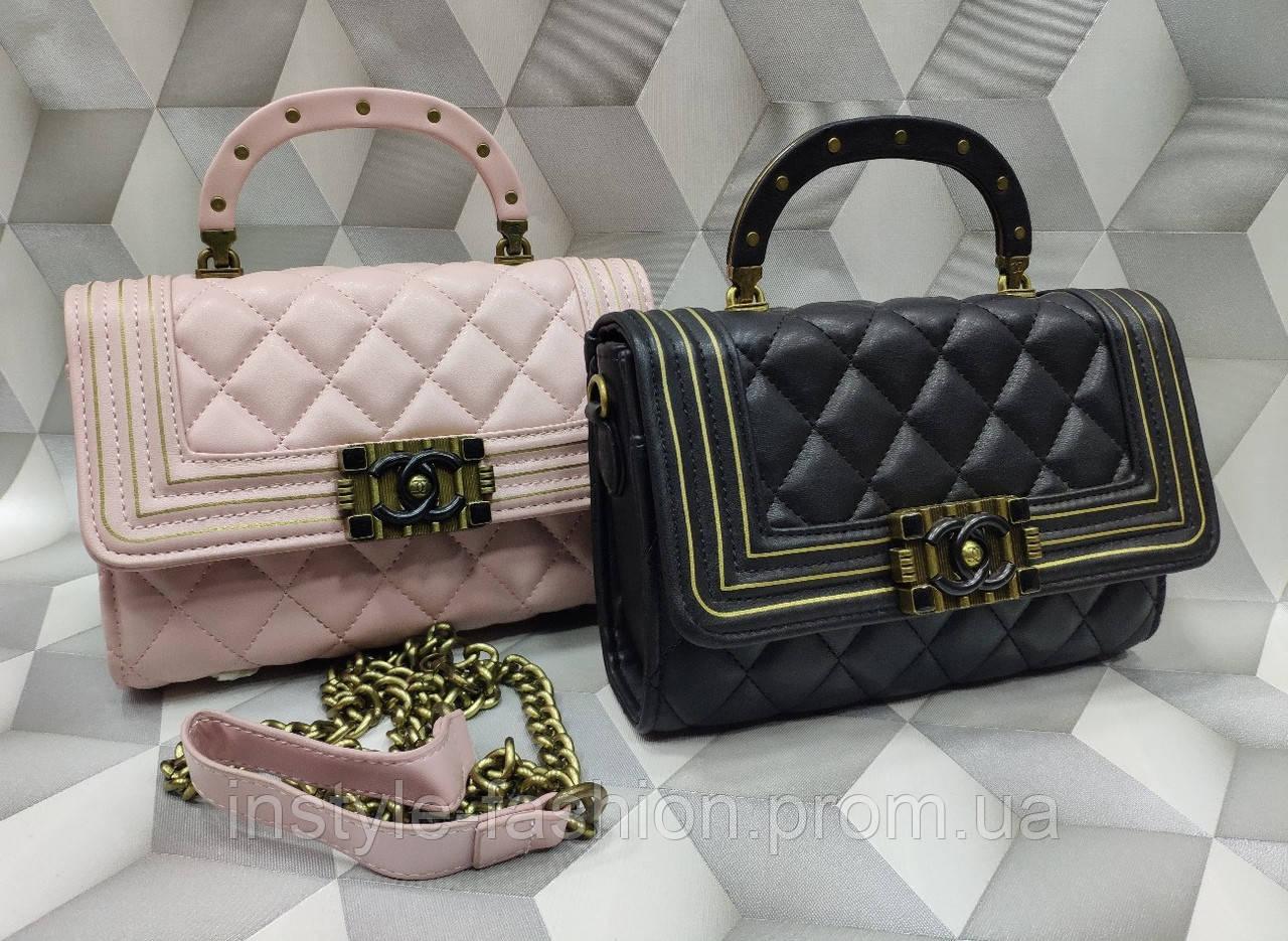 Женская модная сумка- клатч копия Шанель Chanel качественная эко-кожа