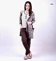 Женская пижама тройка халат с пижамой, комплект тройка халат с пижамой р.42-54