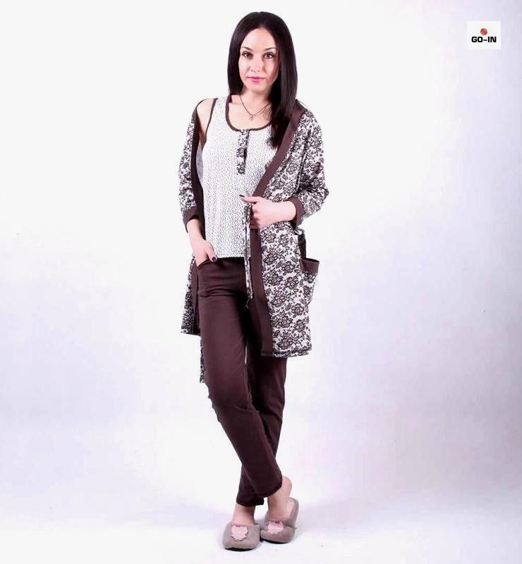 Жіноча піжама трійка халат з піжамою, комплект трійка халат з піжамою р. 42-54