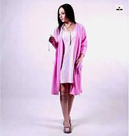 """Жіночий комплект халат велюровий з нічної """"Рожевий"""" р. 42-50, фото 1"""