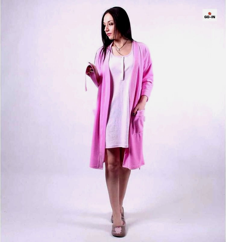"""Жіночий комплект халат велюровий з нічної """"Рожевий"""" р. 42-50"""