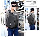 Рюкзак міський протикрадій Боббі Bobby з USB сірий / захист від крадіжок, водовідштовхувальний, репліка, фото 10