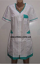 Медицинский халат на молнии арт 455 ,42-56 р  белый с зеленым.