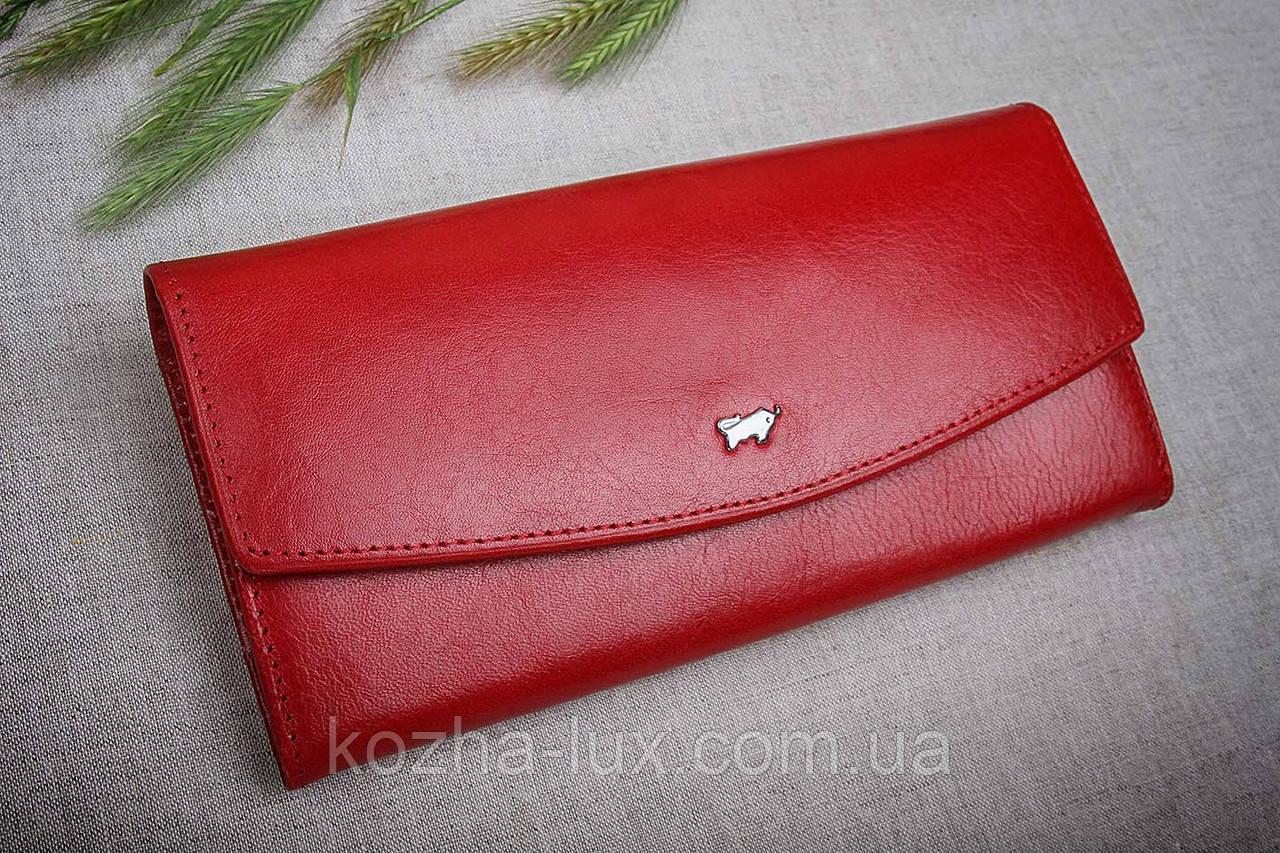 Кошелек женский кожаный красный без металла, натуральная кожа