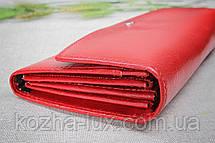 Кошелек женский кожаный красный без металла, натуральная кожа, фото 2