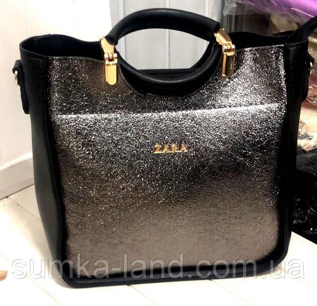 71df9e6aef8d Женская черная с графитом сумка Zara из эко-кожи 26*26 см, цена 376 ...
