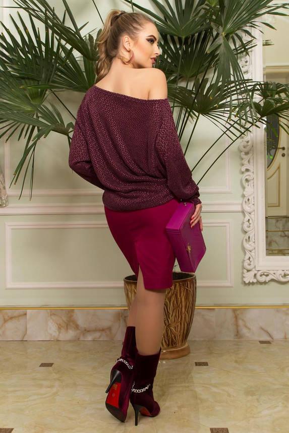 Женская бордовая кофта с открытым плечом трикотажная, фото 2