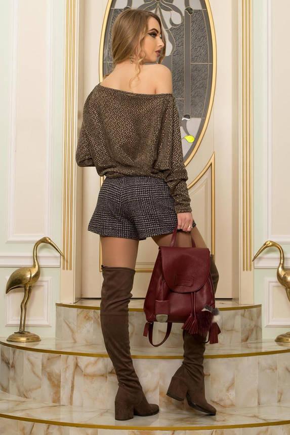 Женская кофточка с открытым плечом трикотажная хаки, фото 2