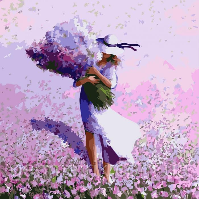 Картина по номерам.  Цветочное поле 40х40см арт. КНО2660 (набор для творчества, рисование по номерам)