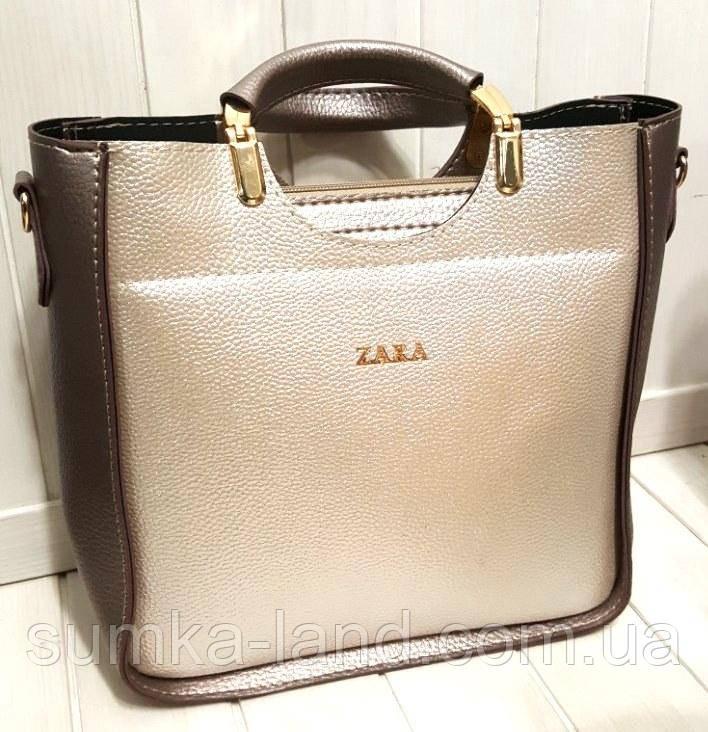 4e359126e3d1 Женская сумка Zara из эко-кожи серебро с бронзой 26*26 см, цена 376 ...