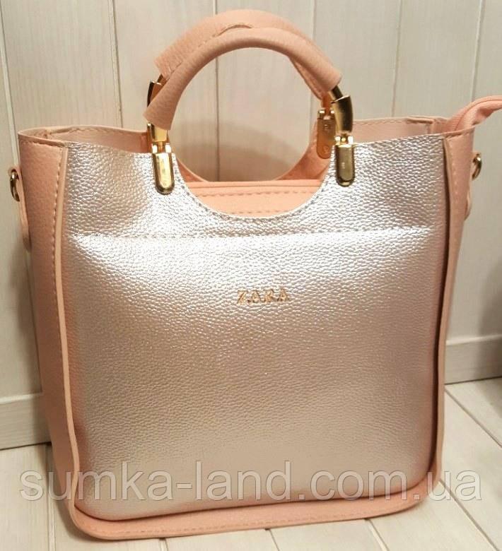 fce668077a5e Женская сумка Zara пудра с серебром из эко-кожи 26*26 см, цена 376 ...