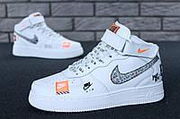Кроссовки мужские в стиле Nike Air Force 1 Hi Just Do It (Реплика ААА+), фото 1