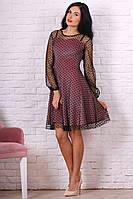Платье с красивой сеткой в горох