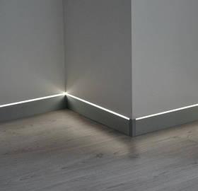 Плинтус алюминиевый скрытого монтажа с LED подсветкой Profilpas 60x2000 мм 876A