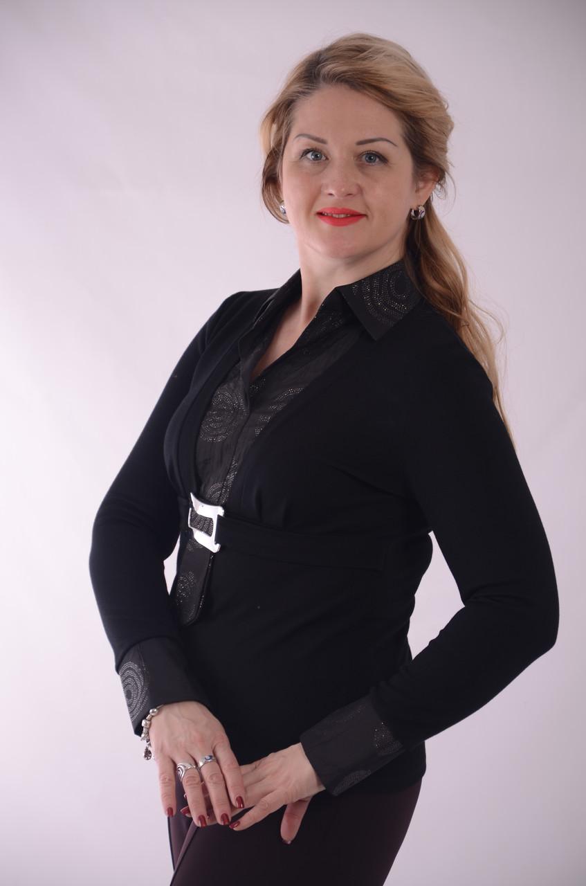 Батник блузон сорочка чорний вовняний светр вовняний 613031