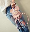 Рюкзак женский мини Mikki кожзам однотонный Розовый, фото 2