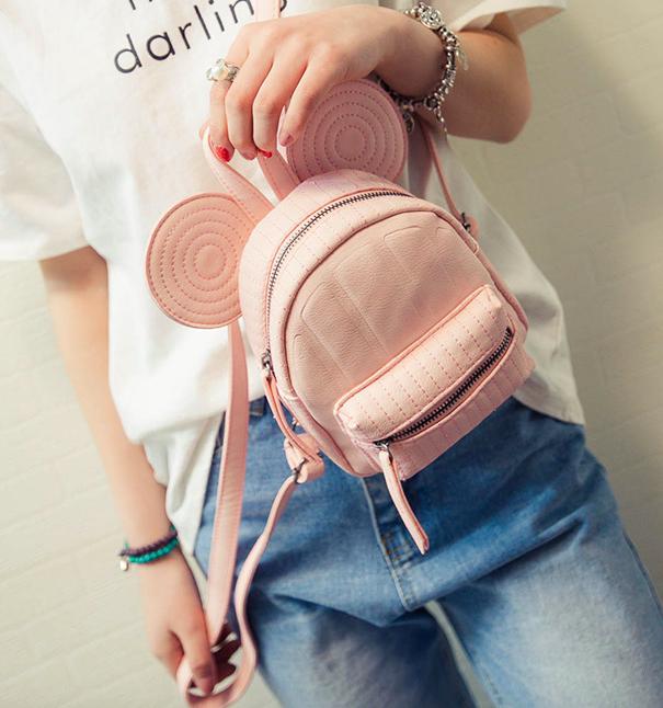 Рюкзак женский мини Mikki кожзам однотонный Розовый