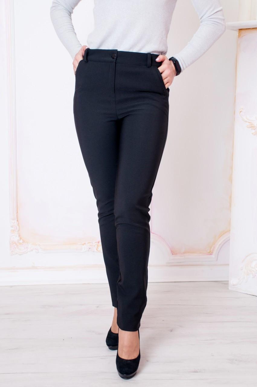 Утепленные классические женские брюки Валенсия черного цвета