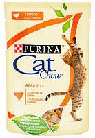 Cat Chow пауч 85 г Adult для кошек С КУРИЦЕЙ и кабачками в желе