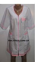 Медицинский халат женский на молнии арт 455 ,цвет белый с розовым  52 р.