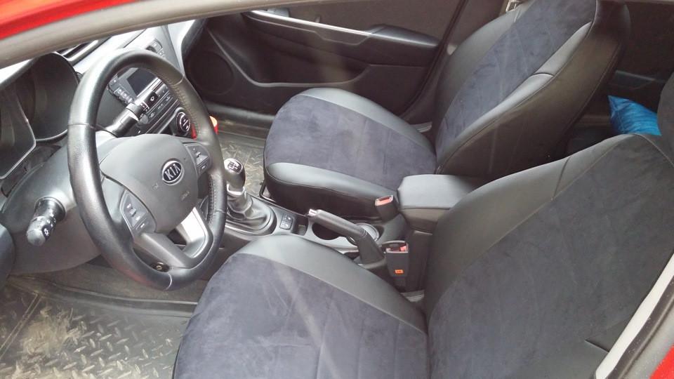 Чехлы на сиденья Ауди А4 Б7 (Audi A4 B7) (модельные, экокожа Аригон+Алькантара, отдельный подголовник)