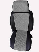 Чехлы на сиденья БМВ Е39 (BMW E39) (модельные, экокожа Аригон+Алькантара, отдельный подголовник)