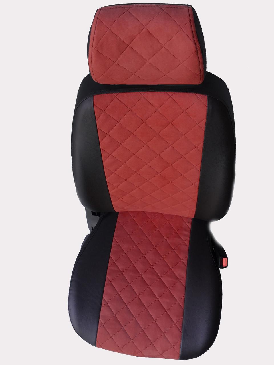 Чехлы на сиденья Шевроле Ланос (Chevrolet Lanos) (модельные, экокожа Аригон+Алькантара, отдельный подголовник)