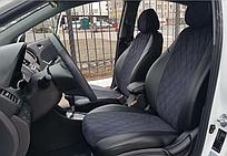 Чехлы на сиденья Фиат Линеа (Fiat Linea) (модельные, экокожа Аригон+Алькантара, отдельный подголовник)