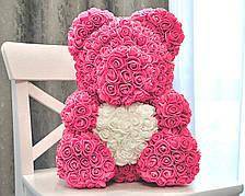 Мишко з рожевих 3D троянд ведмідь Тедді з білим серцем в подарунковій упаковці 40 см Рожевий