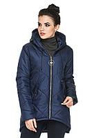 Демисезонная женская удлиненная куртка парка прямого кроя 44-56 батал синяя, фото 1