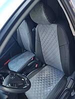 Чехлы на сиденья Рено Клио (Renault Clio) 2002 - ... г (модельные, экокожа Аригон+Алькантара, отдельный подголовник)