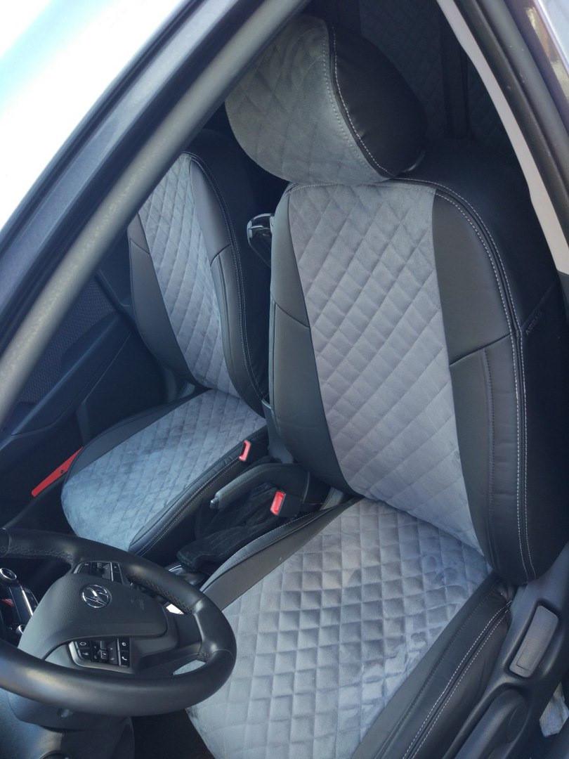 Чехлы на сиденья Фольксваген Поло 5 (Volkswagen Polo 5) (модельные, экокожа Аригон+Алькантара, отдельный подголовник)