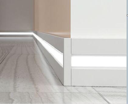 Плінтус підлоговий алюмінієвий з LED підсвічуванням Profilpas 60 мм 2000 мм 89/6L
