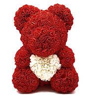 Мишка из бордовых 3D роз медведь Тедди с белым сердцем в подарочной упаковке 40 см бордовый