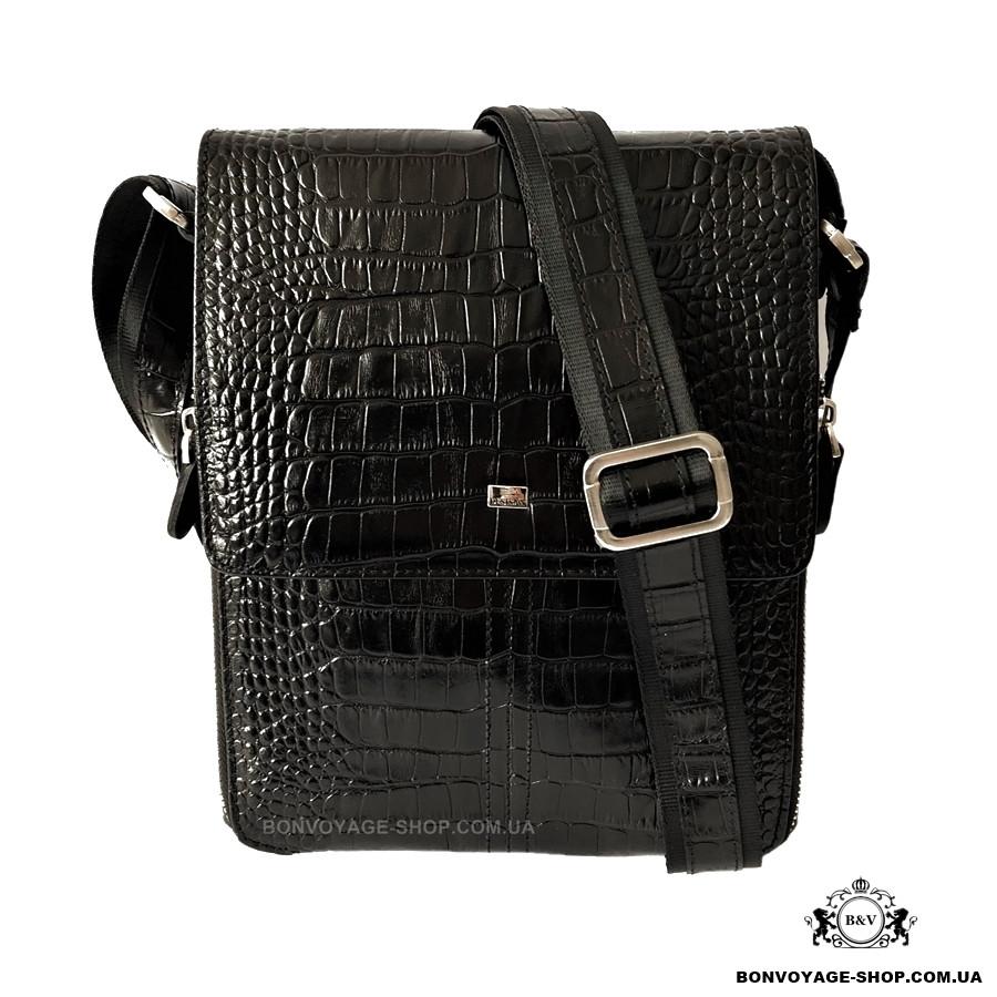 2a79639e93fb Мужская сумка через плечо кожаная Desisan 349-011 мессенджер с тиснением  черный
