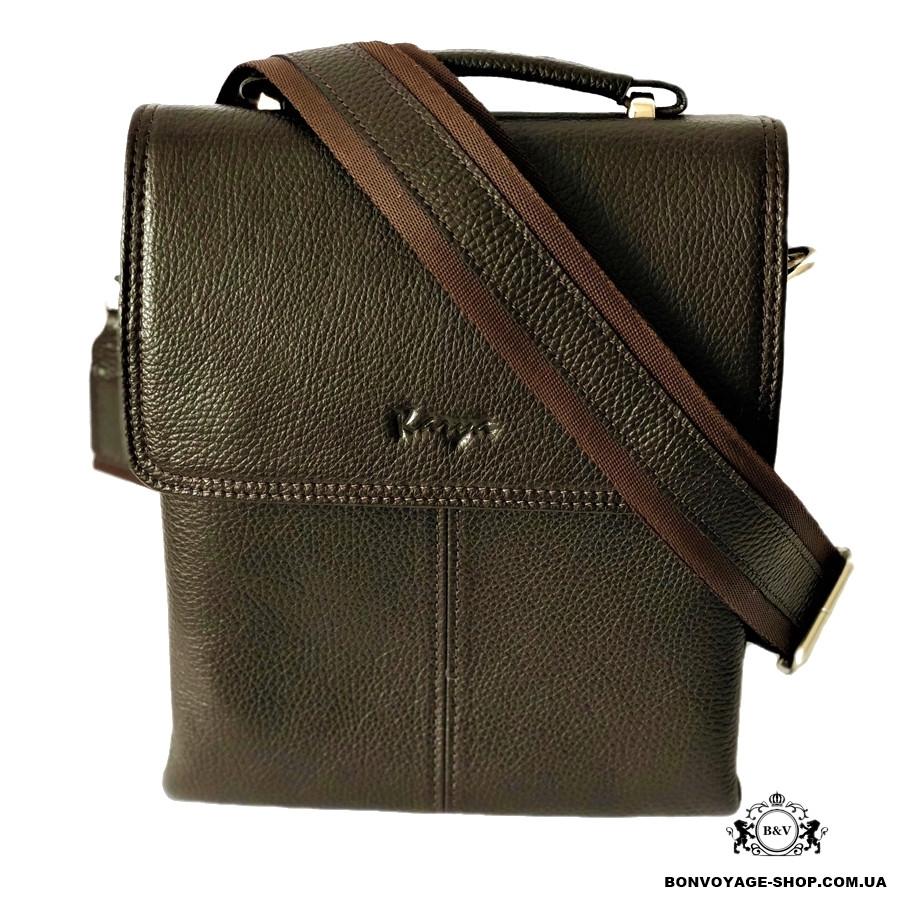 ac69c63d0564 Мужская сумка через плечо кожаная Karya 0811-39 мессенджер коричневый -  Интернет-магазин BON