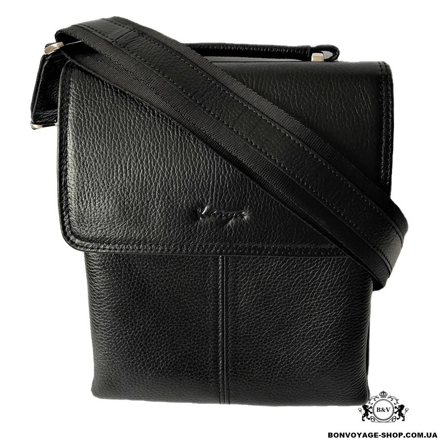 3d9f0873974a Мужская сумка через плечо кожаная Karya 0811-45 мессенджер черный -  Интернет-магазин