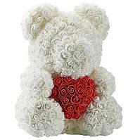 Ведмедик білий з 3D троянд ведмідь Тедді з червоним серцем в подарунковій упаковці 40 см Білий