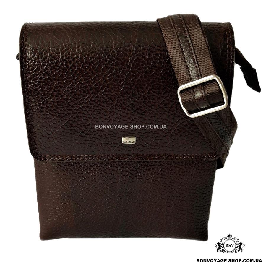 38e3f9c1d75 Мужская сумка через плечо кожаная Desisan 1463-019 мессенджер коричневый