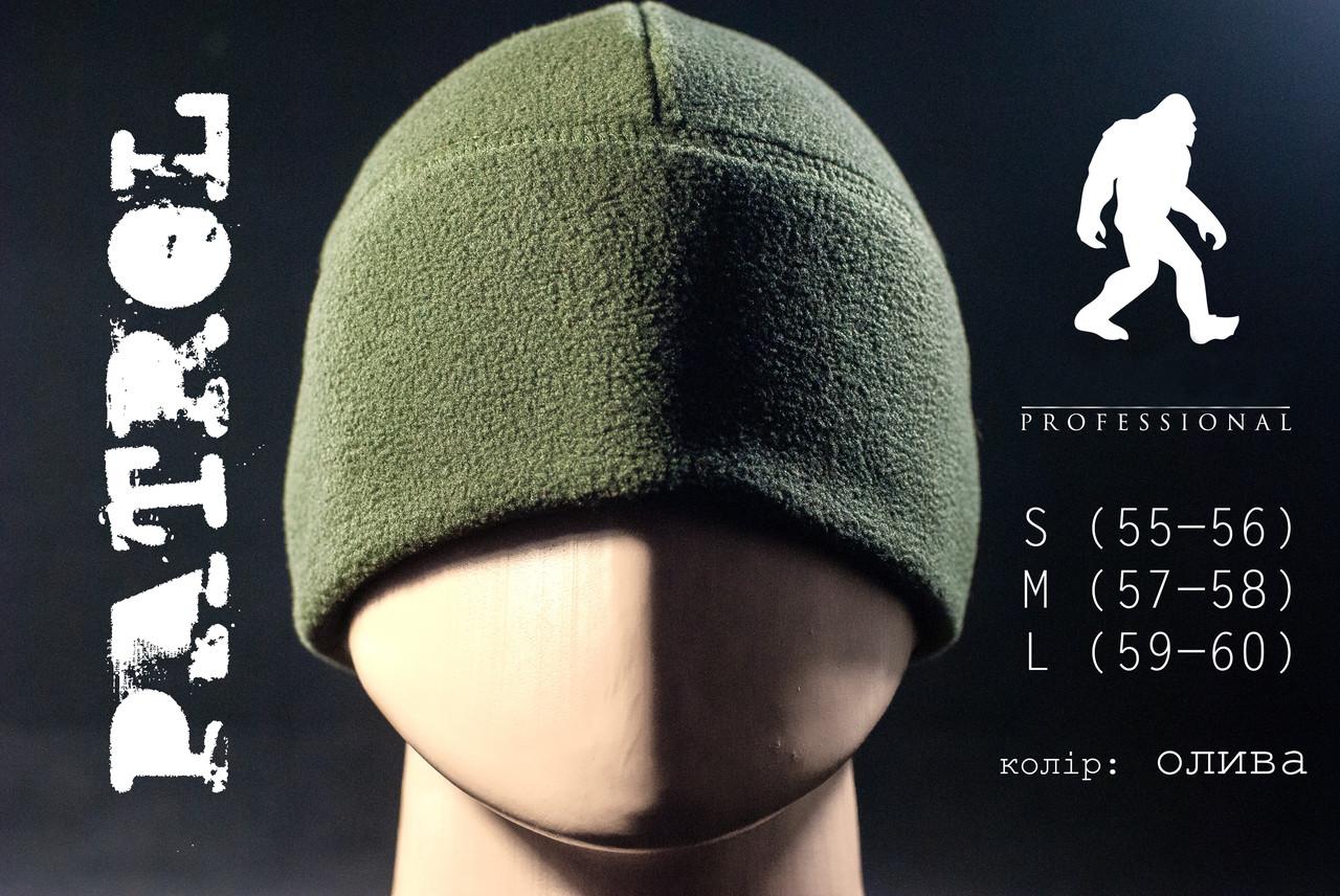Детская шапка флисовая PATROL цвет олива